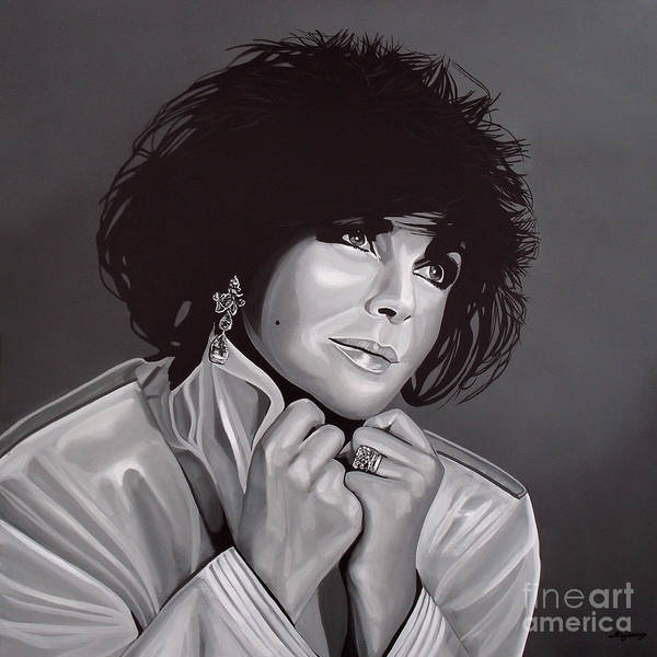 Elizabeth Taylor Poster featuring the painting Elizabeth Taylor by Paul Meijering
