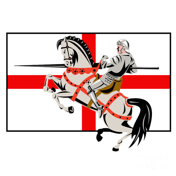 Knight Poster featuring the digital art English Knight Lance Horse England Flag Side Retro by Aloysius Patrimonio