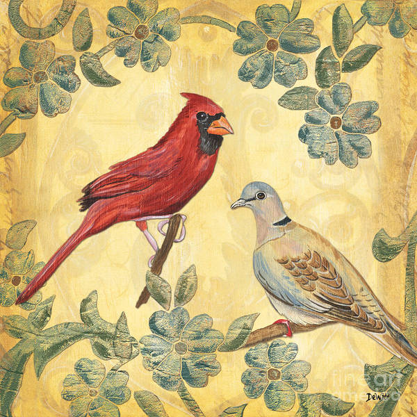 Birds Poster featuring the painting Exotic Bird Floral And Vine 2 by Debbie DeWitt
