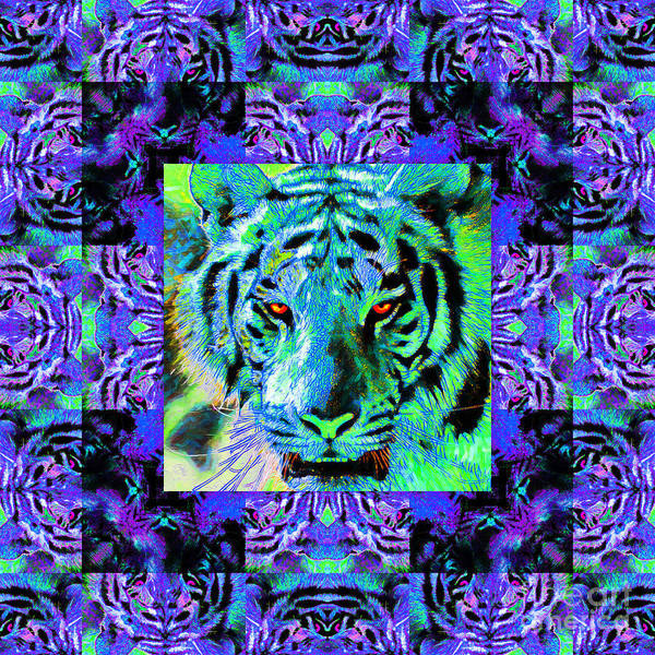 Tiger Poster featuring the photograph Eyes Of The Bengal Tiger Abstract Window 20130205m80 by Wingsdomain Art and Photography
