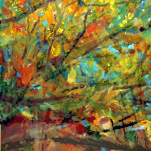 Poster featuring the digital art Fall Looking Up by David Briscoe
