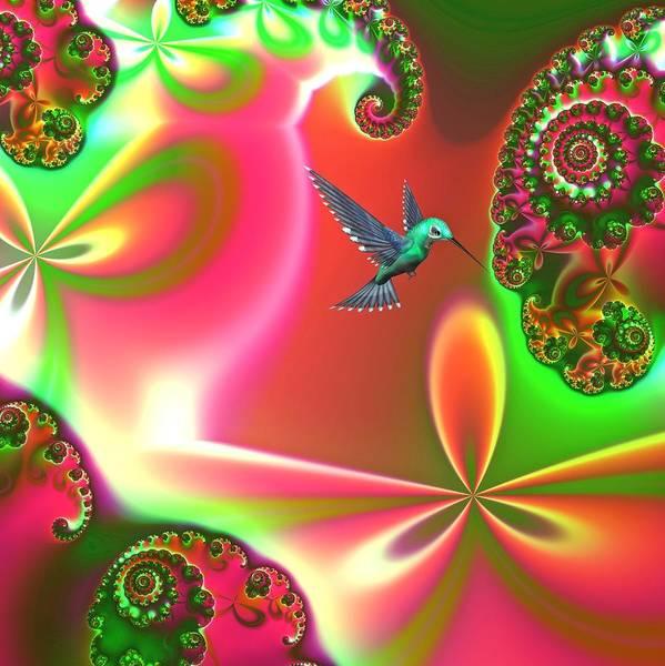 Hummingbirds Poster featuring the digital art Fantasia by Sharon Lisa Clarke