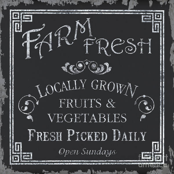 Farmer Poster featuring the painting Farm Fresh Sign by Debbie DeWitt