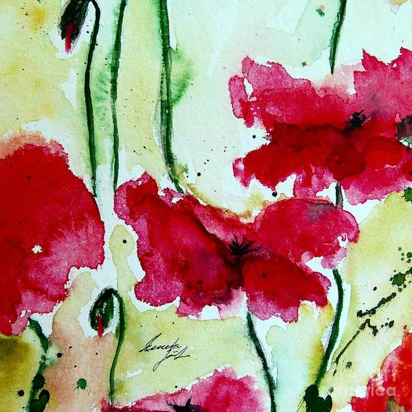 Abstract Poster featuring the painting Feel The Summer 2 - Poppies by Ismeta Gruenwald