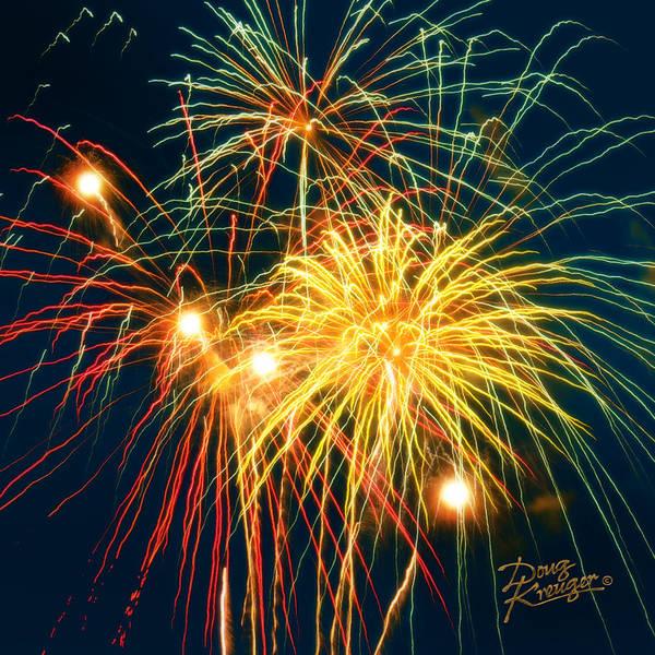 Fireworks Finale By Doug Kreuger Poster featuring the photograph Fireworks Finale by Doug Kreuger