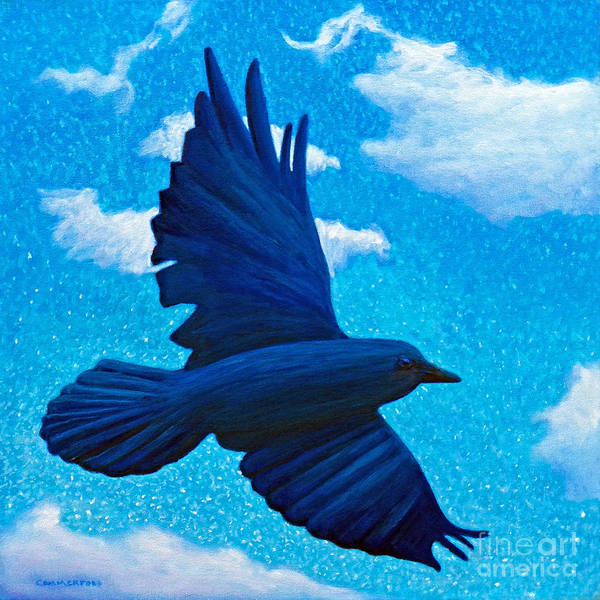 Raven Poster featuring the painting Flight by Brian Commerford