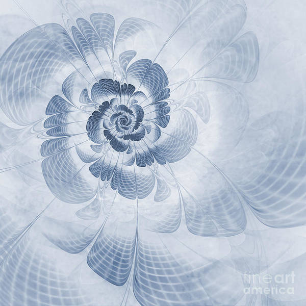 Fractal Flower Poster featuring the digital art Floral Impression Cyanotype by John Edwards