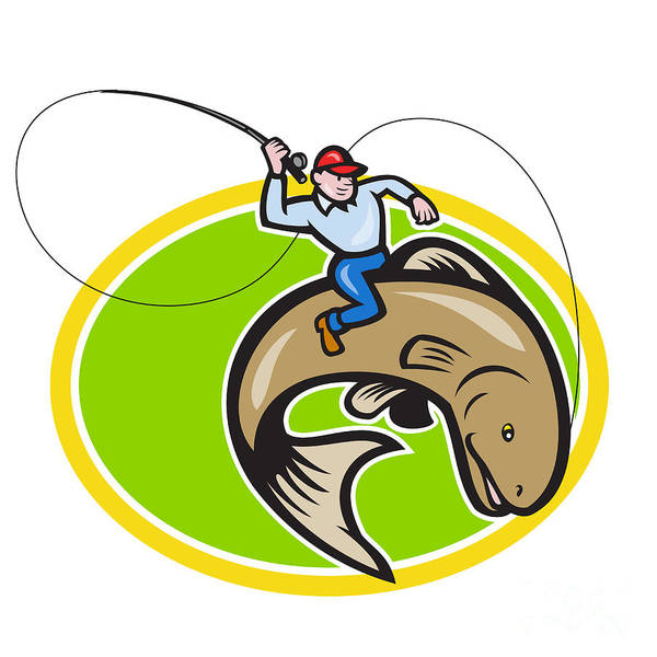 Fisherman Poster featuring the digital art Fly Fisherman Riding Trout Fish Cartoon by Aloysius Patrimonio