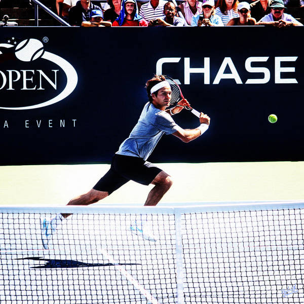 Roger Federer Poster featuring the photograph Flying Federer by Nishanth Gopinathan