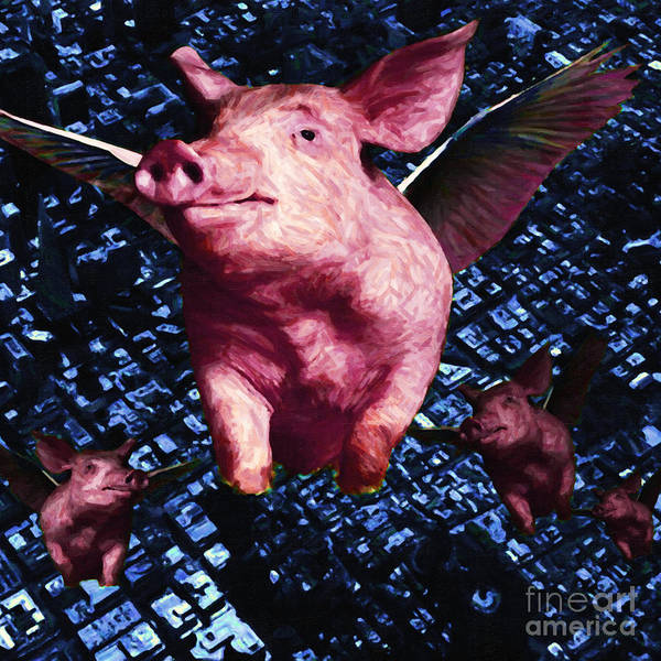San Francisco Poster featuring the photograph Flying Pigs Over San Francisco - Square by Wingsdomain Art and Photography