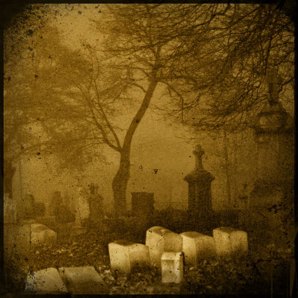 Sepia Poster featuring the photograph Foggy Necropolis by Gothicrow Images
