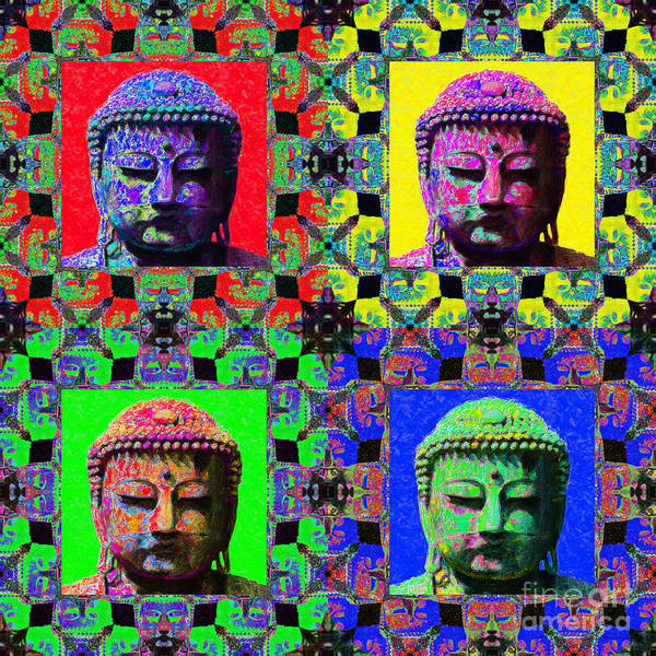 Religion Poster featuring the photograph Four Buddhas 20130130 by Wingsdomain Art and Photography