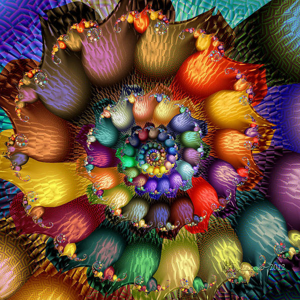 Abstract Poster featuring the digital art Fractal Textured Spiral by Peggi Wolfe