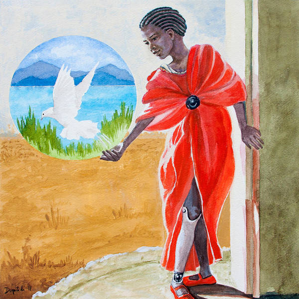 African Girl Poster featuring the painting Freedom Rising by Kathryn Donatelli