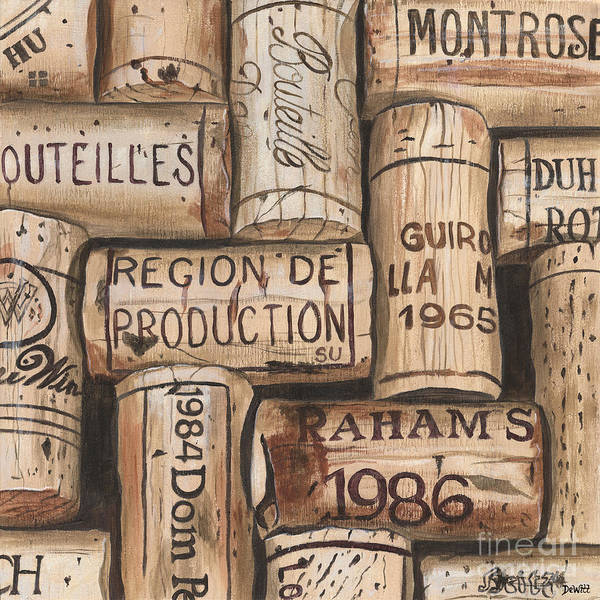 Alcohol Poster featuring the painting French Corks by Debbie DeWitt