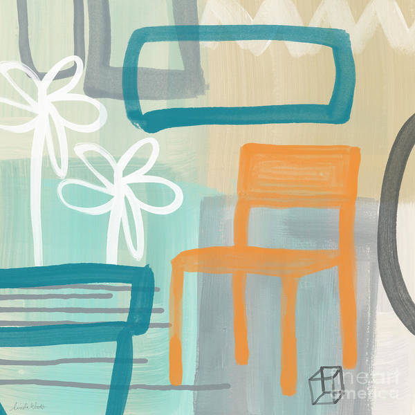Abstract Poster featuring the painting Garden Chair by Linda Woods