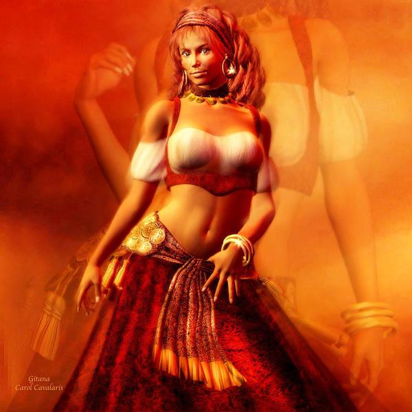 Gypsy Poster featuring the mixed media Gitana by Carol Cavalaris
