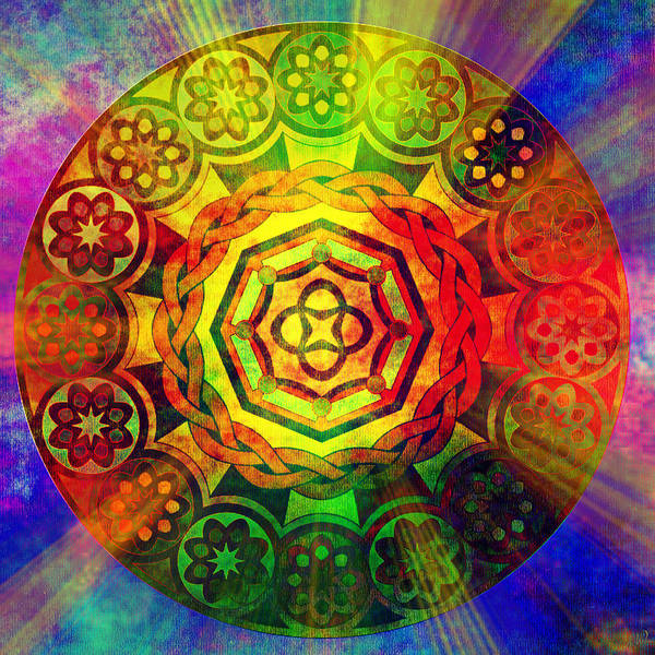 Pop Art Poster featuring the digital art Glowing Mandala by Ally White