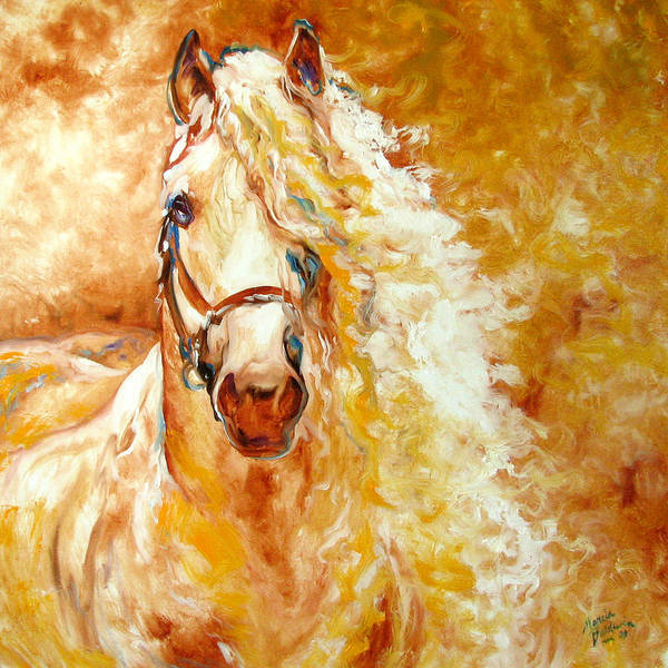 Horse Poster featuring the painting Golden Grace Equine Abstract by Marcia Baldwin
