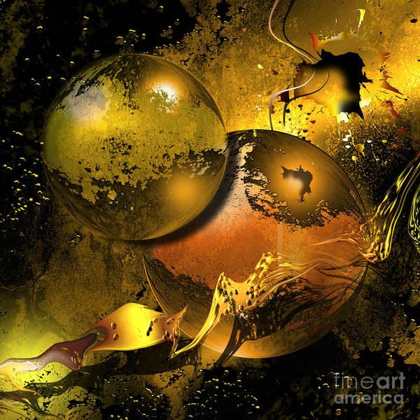 Golden Things Poster featuring the digital art Golden Things by Franziskus Pfleghart