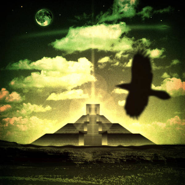 Raven Poster featuring the digital art Great Mayan Dream by Milton Thompson