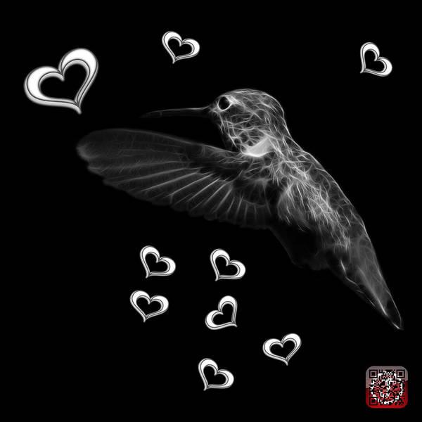 Hummingbird Poster featuring the digital art Greyscale Hummingbird - 2055 F M by James Ahn