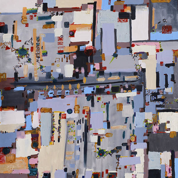 Urban Poster featuring the painting Gridlock by Regina Valluzzi