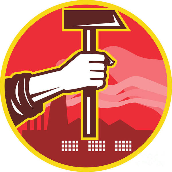 Hand Poster featuring the digital art Hand Holding Hammer Factory Retro by Aloysius Patrimonio