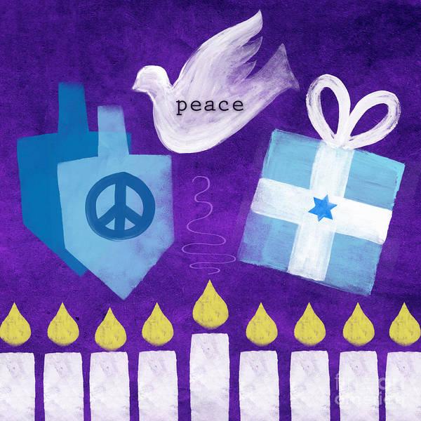 Hanukkah Poster featuring the mixed media Hanukkah Peace by Linda Woods