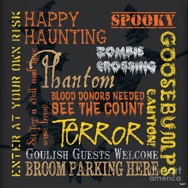 Halloween Poster featuring the painting Happy Haunting by Debbie DeWitt