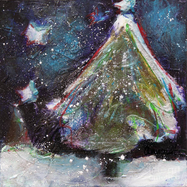 Happy Holidays Poster featuring the painting Happy Holidays Blue And Red Wishing Stars by Johane Amirault