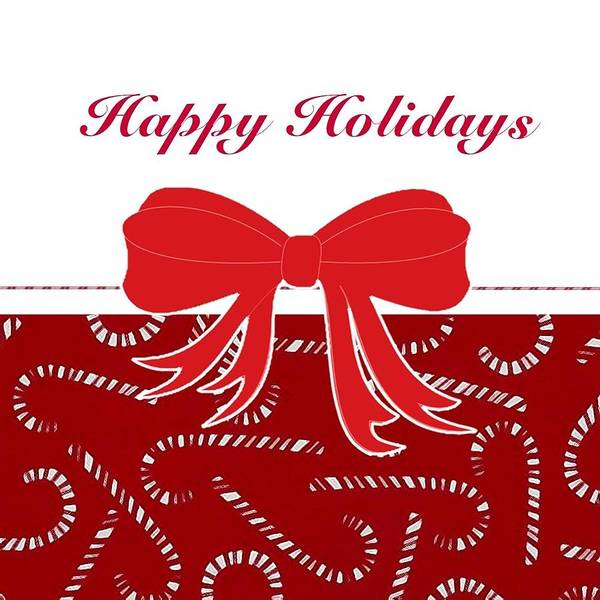 Bow Poster featuring the digital art Happy Holidays by Florene Welebny