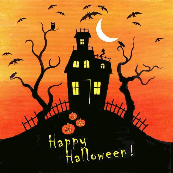 Haunted House Poster featuring the painting Haunted House Part One by Linda Mears