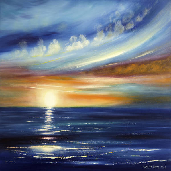 Sunset Poster featuring the painting Here It Goes 2 by Gina De Gorna