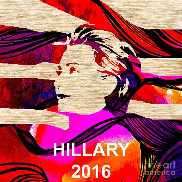 Hillary Clinton Paintings Mixed Media Poster featuring the mixed media Hillary Clinton 2016 by Marvin Blaine