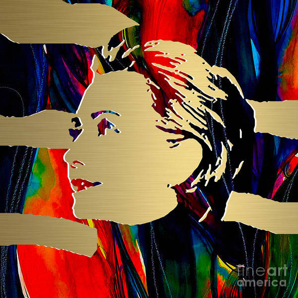 Hillary Clinton Paintings Mixed Media Poster featuring the mixed media Hillary Clinton Gold Series by Marvin Blaine
