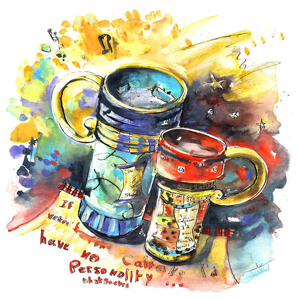 Cafe Crem Poster featuring the painting If It Were Not For Caffeine by Miki De Goodaboom
