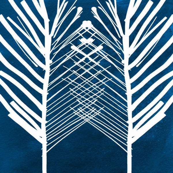 Leaves Poster featuring the painting Indigo And White Leaves- Abstract Art by Linda Woods
