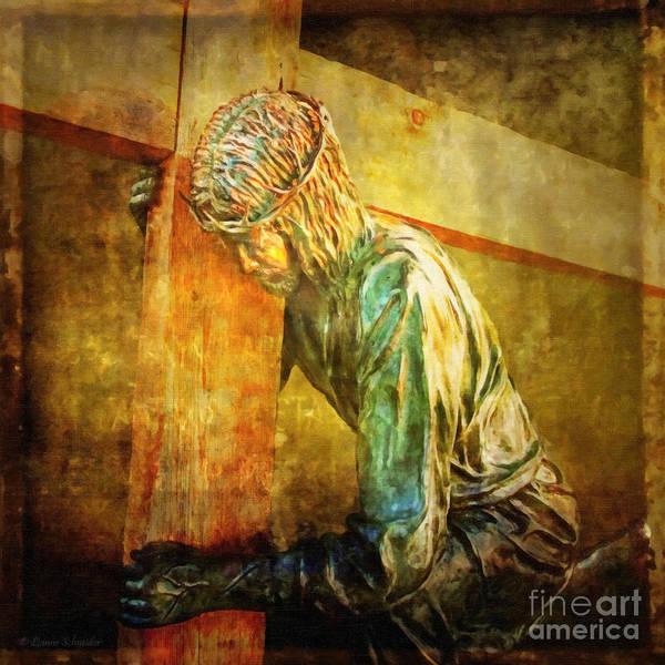 Jesus Poster featuring the digital art Jesus Falls Via Dolorosa 3 by Lianne Schneider