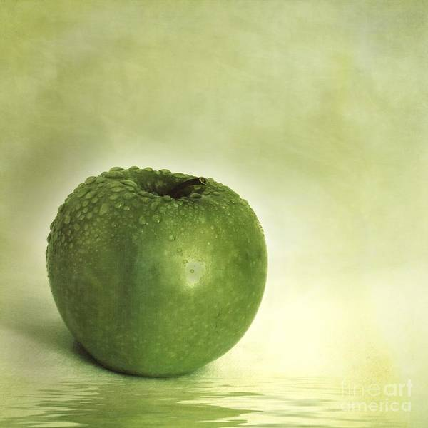 Apple Poster featuring the photograph Just Green by Priska Wettstein