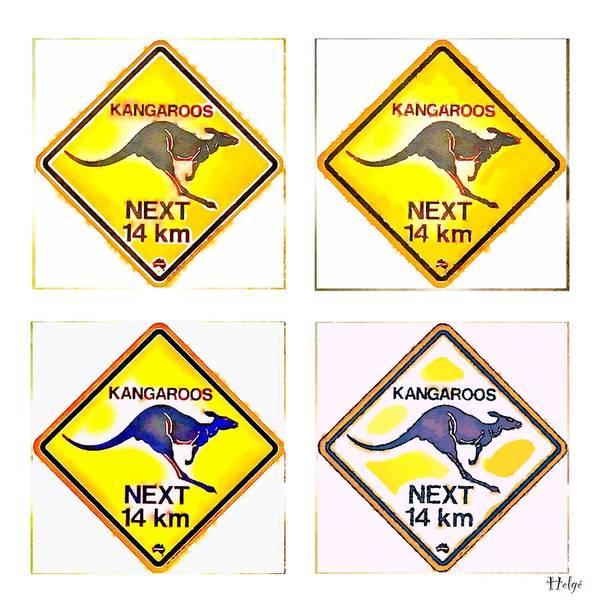 Kangaroo Poster featuring the painting Kangaroos Road Sign Pop Art by HELGE Art Gallery