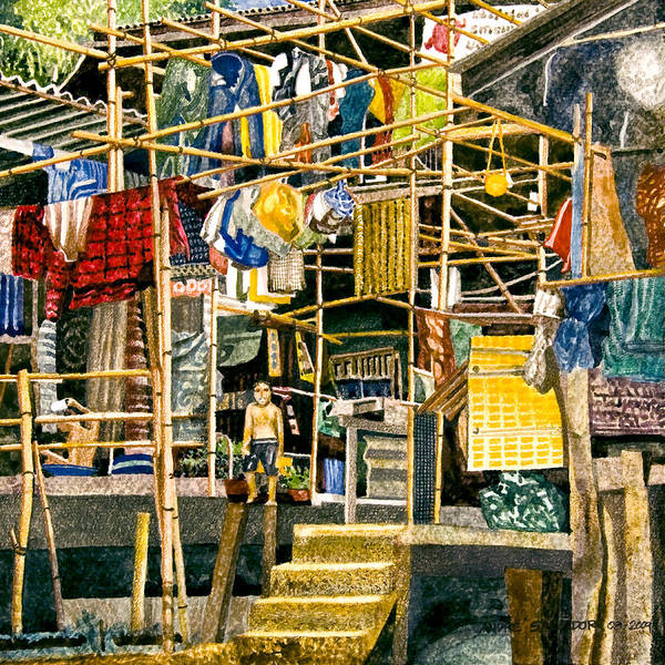 Watercolor Painting Poster featuring the painting Klong House by Andre Salvador