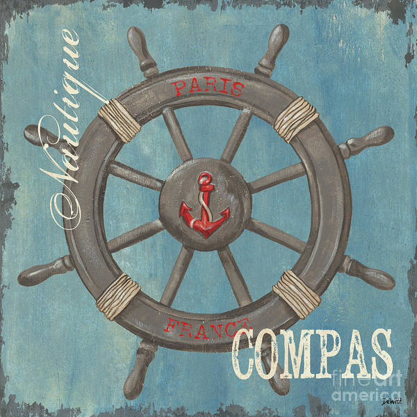 Coastal Poster featuring the painting La Mer Compas by Debbie DeWitt