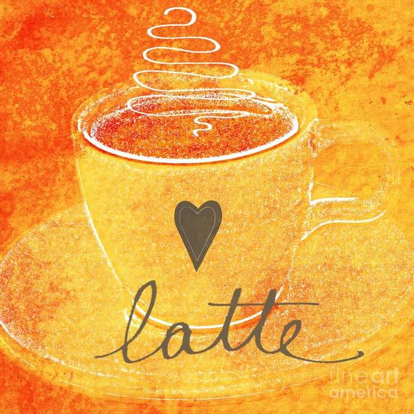 Latte Poster featuring the mixed media Latte by Linda Woods