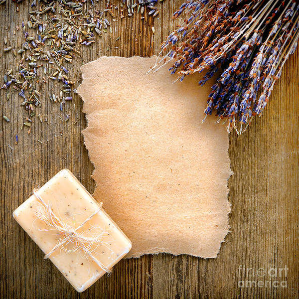 Lavender Poster featuring the photograph Lavender Flowers And Soap by Olivier Le Queinec