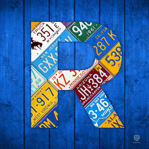 Letter Poster featuring the mixed media Letter R Alphabet Vintage License Plate Art by Design Turnpike