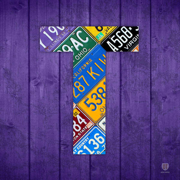 Letter Poster featuring the mixed media Letter T Alphabet Vintage License Plate Art by Design Turnpike