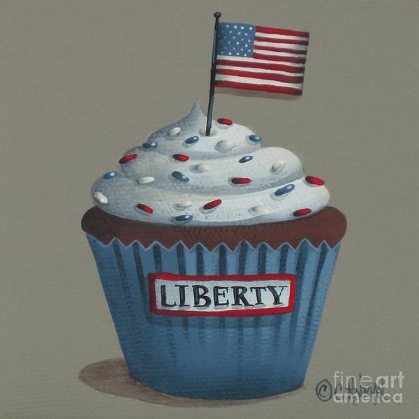 Art Poster featuring the painting Liberty Cupcake by Catherine Holman