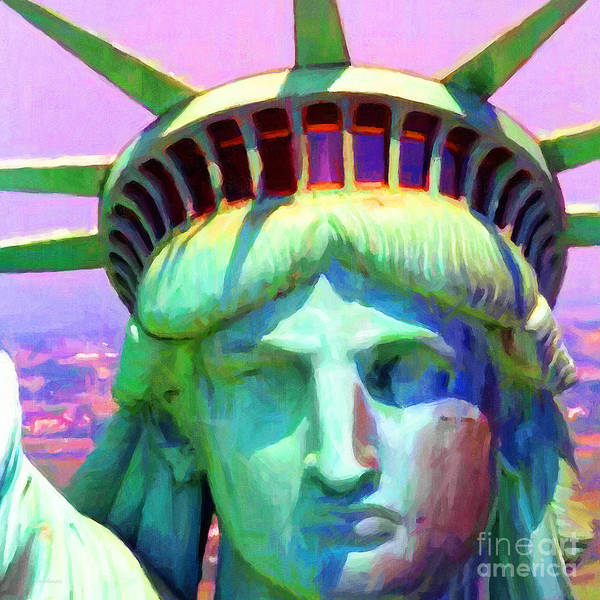 Patriotic Poster featuring the photograph Liberty Head Painterly 20130618 Square by Wingsdomain Art and Photography