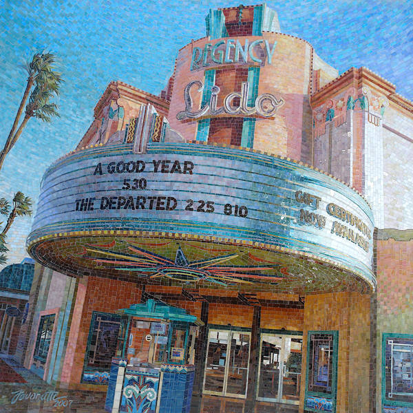 Vintage Poster featuring the painting Lido Theater by Mia Tavonatti